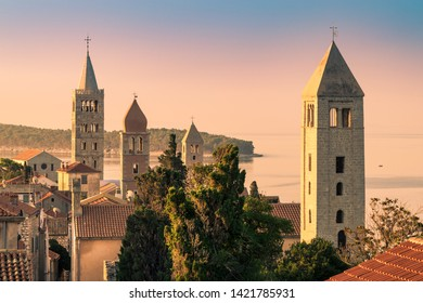 View of the town of Rab, Croatian tourist resort famous for its four bell towers.