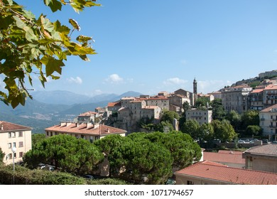 View of the town of Sartene on the island of Corsica, France
