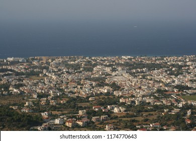 View of town and the sea in Rhodes, Greece.