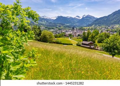 View of town and surounding mountains, Kitzbuhel, Austrian Tyrol, Austria, Europe 1-5-2019