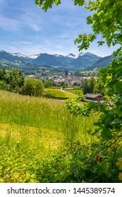 View of town and surounding mountains, Kitzbuhel, Austrian Tyrol, Austria, Europe 1-5-2018