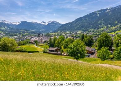 View of town and surounding mountains, Kitzbuhel, Austrian Tyrol, Austria, Europe1-5-2019