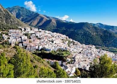 View of town and surrounding countryside, Ojen, Malaga Province, Andalusia, Spain