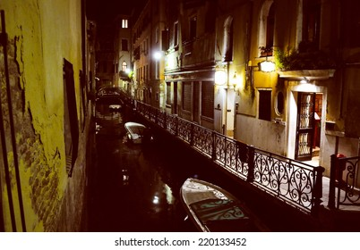 View of the town of Venice (Venezia) in Italy - at night