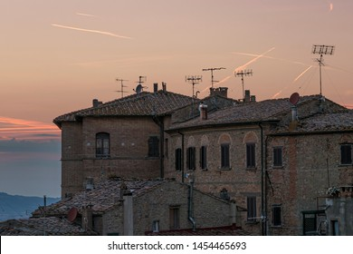 View of the town of Volterra, in Tuscany - Italy, at sunset