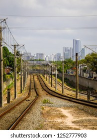 A view of the tracks of the metro in Recife, skyscrappers in the background