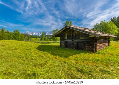 View of a traditional Austrian log cabin near Schwarzsee, Kitzbuhel, Austrian Tyrol, Austria, Europe 1-5-2019