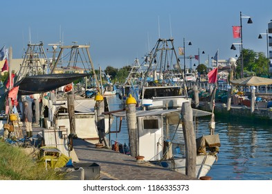 view of the traditional fishing port, Caorle, Italy