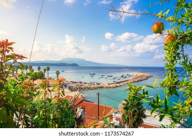 View traditional fishing village of Koroni, Greece and its small harbour