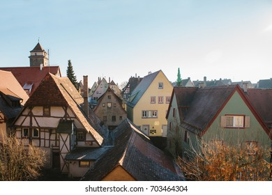 A view of the traditional German houses and roofs in Rothenburg ob der Tauber in Germany. European city.