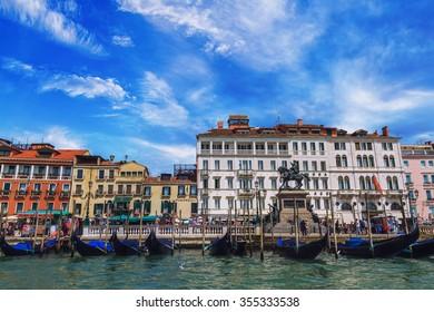 View of traditional Gondola on the famous Canal Grande - Venice, Venezia, Venedig