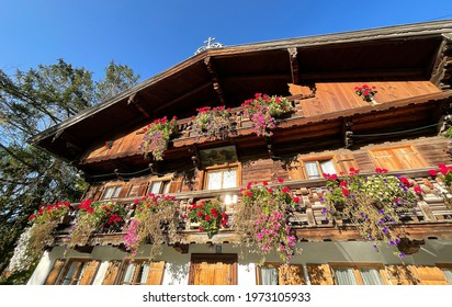 View of a traditional historic countryside house in the Alps of Bavaria