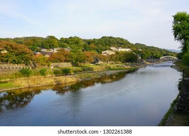 View of traditional Japanese buildings along the Asano-gawa River in Kanazawa, Ishikawa, Japan