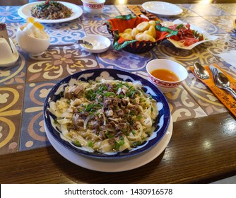 View of the traditional Kyrgyz food besh parmak with horses meat and homemade sliced pasta, Bishkek, Krygyzstan
