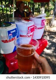 View of a traditional Kyrgyz fresh tasty drink kamput, Bishkek, Krygyzstan, 08.06.2019