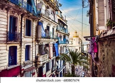 View of Traditional Neighborhood in Algiers, Algeria