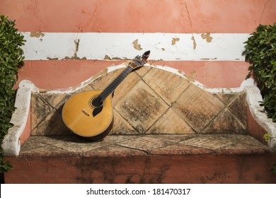 view of a traditional Portuguese guitar instrument on a stone bench.