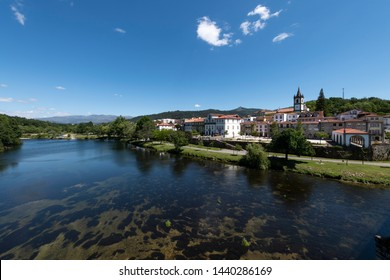 View of the traditional village of Ponte da Barca in the Minho Region of Portugal, with the Lima River.