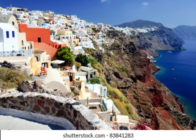 The view of traditional village of Thira, Santorini, Greece.