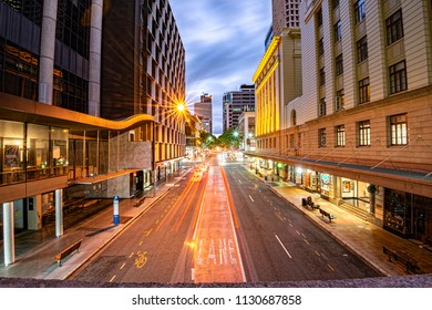 View of traffic on Adelaide street in Brisbane CBD at night on Saturday 28th April 2018.