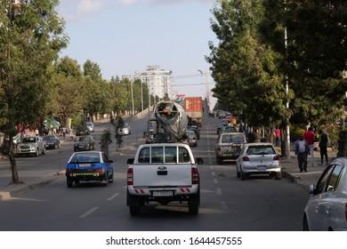 view of traffic on road in Addis Abeba, Ethiopia. 1st Febr.2020