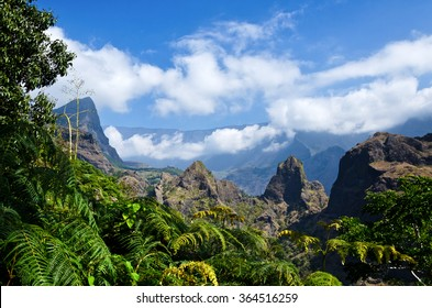 A view from a trail in the interior of Reunion Island in the cirque de Mafate