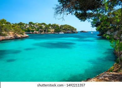 A view from a trail on a shore of Cala Ferrera bay on Mallorca island in Spain