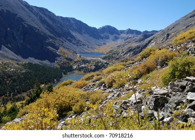 View from the trail up to Quandary Peak in Colorado in the fall.