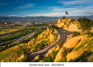View of trails and an American flag at Mount Rubidoux Park, in Riverside, California.