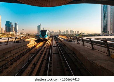 View of the train and the Dubai downtown skyline from a metro station, Dubai, UAE