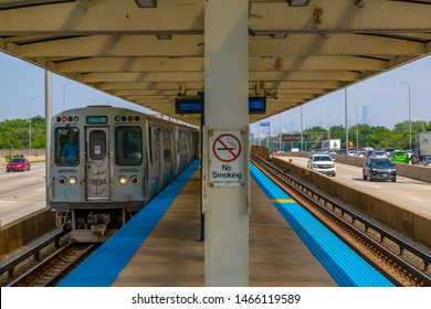 View of train from Ohare Airport to city, Chicago, Illinios, United States of America, North America 1-7-2019