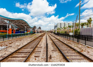 View of Train Tracks and Bus Station in Downtown Orlando, Florida