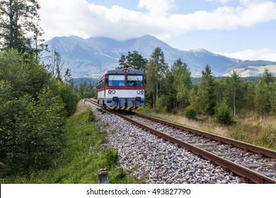 View of a train traveling through green fields with Mountain in the background on a beautiful sunny day