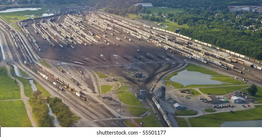 View of train yard from small aircraft