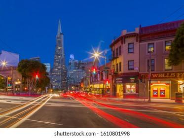 View of Transamerica Pyramid building on Columbus Avenue, North Beach, San Francisco, California, USA, North America 1-11-19
