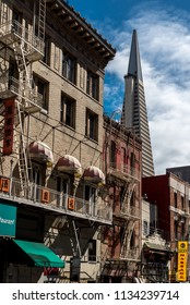 view of the transamerica pyramid from china town. san francisco, united states