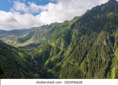 View From Transfagarasan Road, paved mountain road crossing the southern section of the Carpathian Mountains of Romania