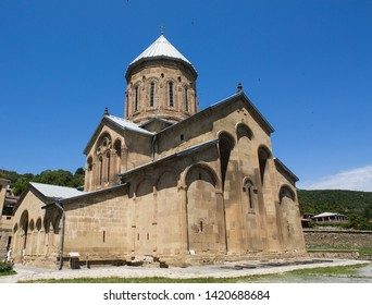View to Transfiguration Church. Samtavro Monastery has Living Pillar and the particle of the relics of the two saints of the thirteen Syrian Fathers. Mtskheta, Georgia