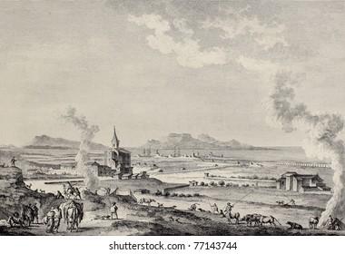 View of Trapani and Aegadean islands, Sicily. Created by Desprez and L'Epine, published on Voyage Pittoresque de Naples et de Sicilie, by J. C. R. de Saint Non, Imprimerie de Clousier, Paris, 1786