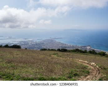 The view of Trapani city from Erice village outlook. Erice, Trapani Sicily, Italy