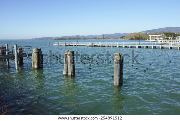 view of trasimeno lake in umbria region