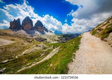 """View of the """"Tre Cime di Lavaredo"""" (Drei Zinnen), Dolomites, Italy"""