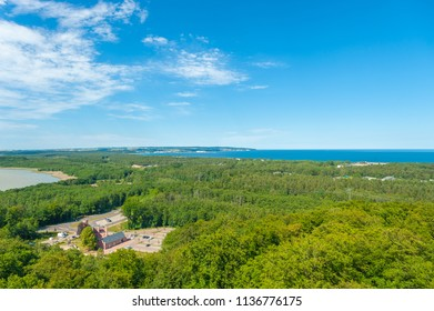 View from the tree-top walk near Prora on the island of Rügen at the Baltic Sea