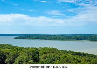 View from the tree-top walk toward the lagune Kleiner Jasmunder Bodden near Prora on the island of Rügen at the Baltic Sea