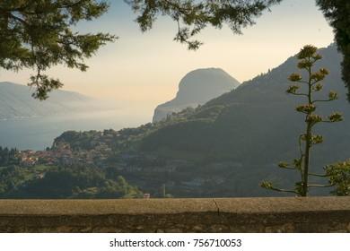 View to Tremosine and Lake Garda, a comune in the Italian province of Brescia, in Lombardy, near Lake Garda
