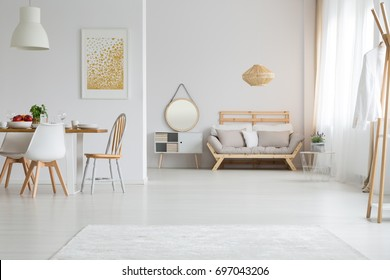 View of trendy lagom interior design in white