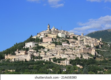 View of Trevi city in summer ( Umbria, Italy )