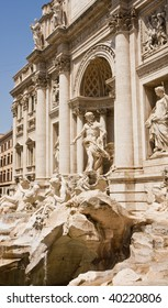 A view of the Trevi Fountain in Rome Italy