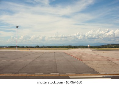 View of Trieste airport in the morning