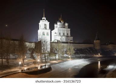 View of Trinity Cathedral February night. Pskov Kremlin